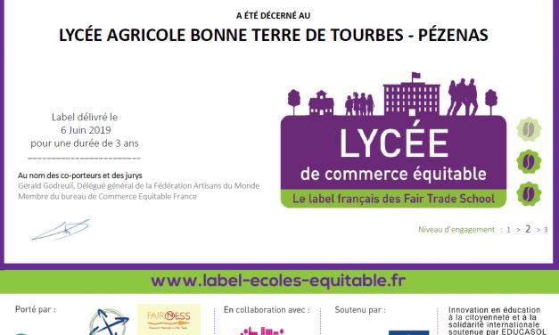Label «Commerce équitable» pour le lycée Bonne Terre !!